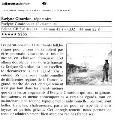 La Scene Musicale Quebec decembre 2005
