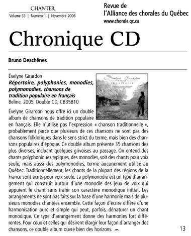 revue alliance chorales quebec Girardon novembre 2006