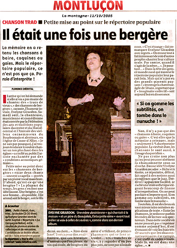 Evelyne article Montagne octobre 2005