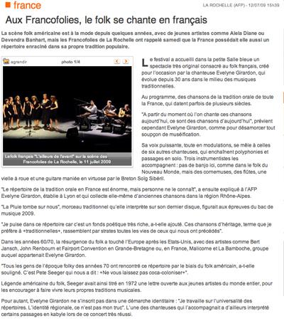 L'article de L'AFP à propos du spectacle d'Évelyne Girardon