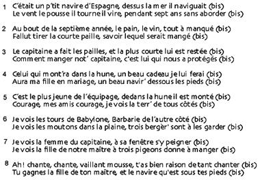 Texte Navire d'Éspagne